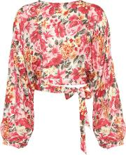 Top 135 Floral Printed Silk Cropped Blouse