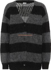 Striped Mohair And Wool Cardigan