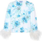 Exclusive To Mytheresa.com Feather Trimmed Printed Mohair And Wool Cardigan
