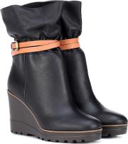 Kelvin Leather Wedge Ankle Boots