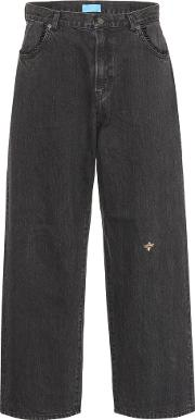 Bee Embroidered Slouchy Jeans