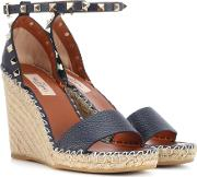 Valentino Garavani Rockstud Leather Wedge Espadrilles