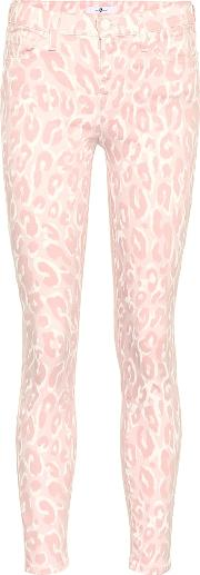 Leopard Mid Rise Skinny Jeans