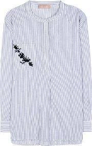 Striped Cotton And Linen Blend Top