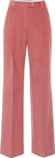 Textured Stretch Cotton Flared Pants