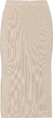 Slit Wool And Cashmere Skirt
