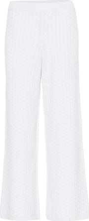 Stretch Cotton Knit Wide Leg Pants