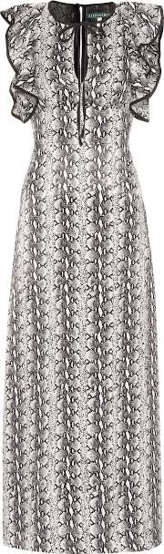 Ruffled Snakeskin Printed Dress