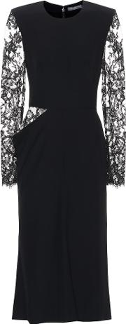 Crepe Midi Dress With Lace