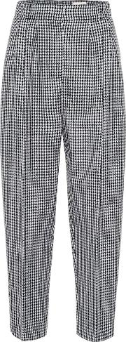 Cropped Houndstooth Wool Pants