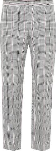 Houndstooth Straight Wool Pants