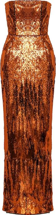 Sequined Strapless Gown