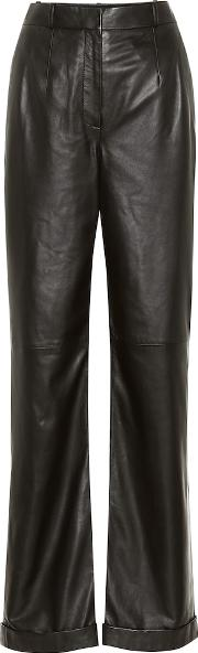 High Rise Straight Leather Pants