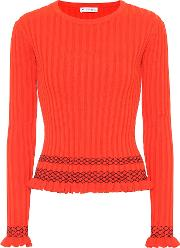 Malou Embroidered Ribbed Knit Sweater