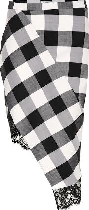 Vichy Gingham Wool Blend Skirt