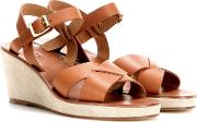 Leather And Suede Wedge Sandals