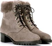 Fur Trimmed Suede Ankle Boots