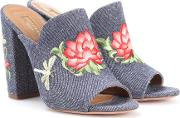 Lotus 105 Embroidered Denim Mules