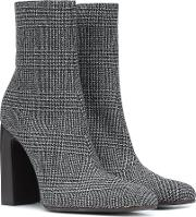 Checked Wool Ankle Boots