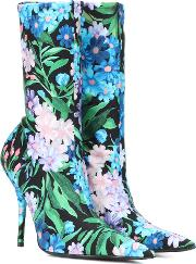 Knife Floral Printed Ankle Boots