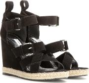 Rope Track Suede Wedge Sandals
