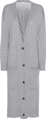 Virgin Wool And Cashmere Long Cardigan