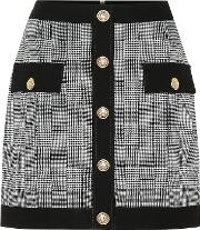 Checked Stretch Cotton Skirt