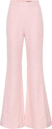 Cotton Blend High Waisted Trousers