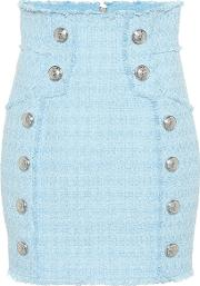 Cotton Blend Tweed Miniskirt