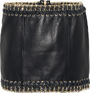 Leather Embellished Miniskirt
