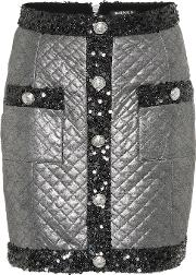Metallic Quilted Miniskirt
