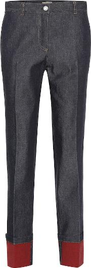 Mid Rise Leather Trimmed Straight Jeans