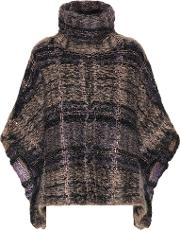 Checked Mohair Blend Poncho