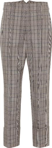 Checked Wool And Cotton Pants