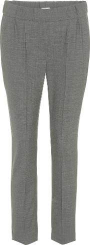 Cropped Wool Blend Trousers