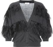 Feather Trimmed Cotton Cardigan
