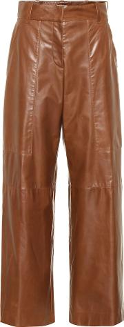 High Rise Wide Leg Leather Pants