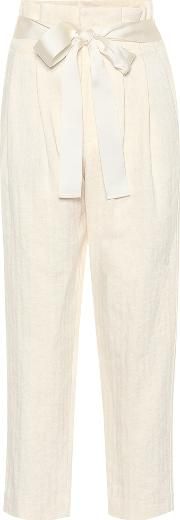 High Waisted Cotton And Linen Pants