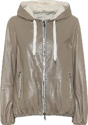 Reversible Leather Hooded Jacket