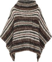 Striped Mohair Blend Poncho