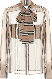 Amelie Striped Silk Blouse