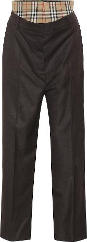Check High Rise Straight Wool Pants