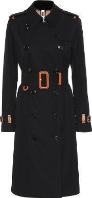 Leather Trimmed Cotton Trench Coat