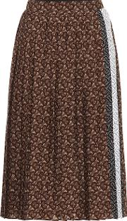 Monogram Pleated Midi Skirt