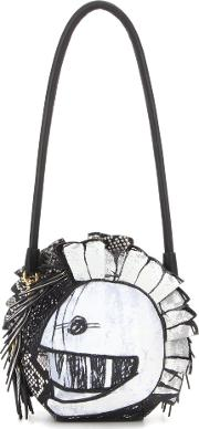 Pallas Helmet Leather And Snakeskin Shoulder Bag