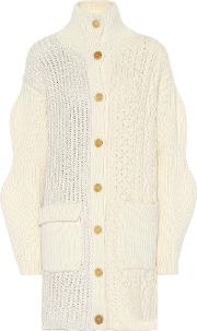 Cable Knit Wool Blend Cardigan