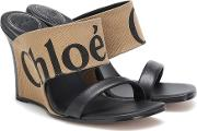 Canvas And Leather Wedge Sandals