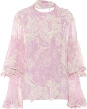 Cotton And Silk Ruffled Blouse