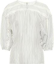 Lace Trimmed Striped Silk Blouse