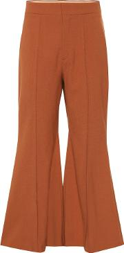 Stretch Wool Flared Pants